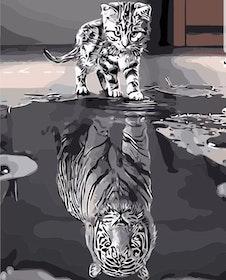 Paint By Numbers Katt Med Tigerspegelbild 40x50