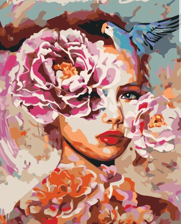 Paint By Numbers Peony Woman 40x50