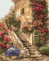 Paint By Numbers Flower Stairs 40x50