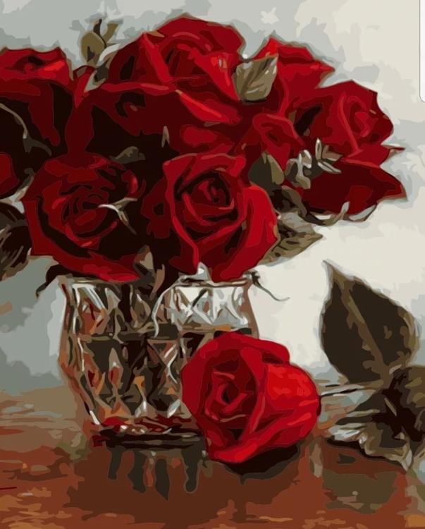 Paint By Numbers Rosor I Kristallvas 40x50