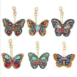 Nyckelringar Butterfly Chrystal 6-Pack