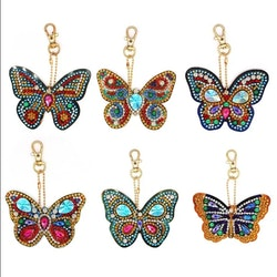 Nyckelringar Butterfly Chrystal 6-Pack - Leveranstid 1-3 Dagar