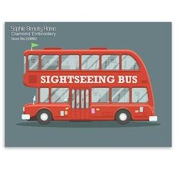 Diamanttavla Brittish Sightseeing Bus 40x50