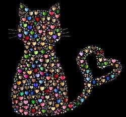 Diamanttavla Cat Hearts 40x40