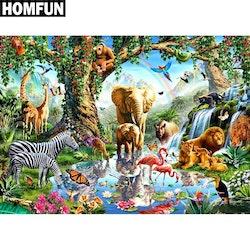 Diamanttavla Zoo Animal Family 50x70