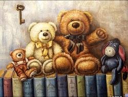 Diamanttavla Bears And Books 40x50
