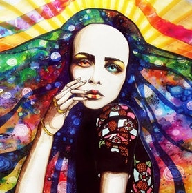 Diamanttavla Rainbow Girl 40x40