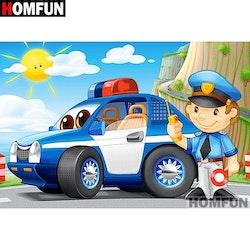 Diamanttavla Cartoon Police 30x40