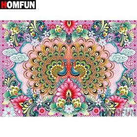 Diamanttavla Peacock Flowers 40x50