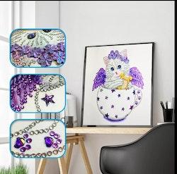 Diamanttavla Special Cat Purple 25x25