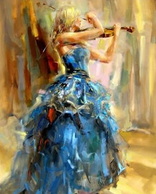 Diamanttavla Beauty With Violin 40x50