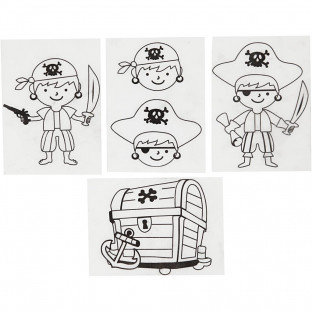 Krympplast Med Motiv Pirater 10,5x14,5 Cm 4 Ark