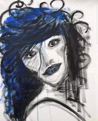 Diamanttavla Blue Hair Beauty 40x50 Kollektion Av Annelie Johansson