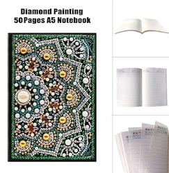 Diamanttavla Skrivbok Green Mandala 50 Sidor Linjerad