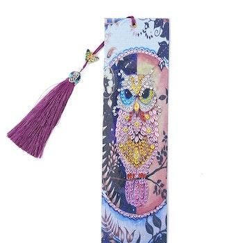 Diamond Painting Bokmärke Pink Owl 21x6 cm - Leveranstid 1-3 Dagar
