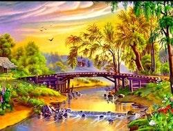 Diamanttavla Sunset Bridge 40x50