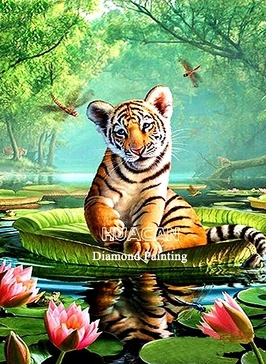 Diamanttavla (R) Tiger And Lotus 50x50