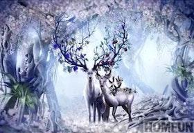 Diamanttavla Deer Flower Trees 50x70