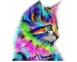 SNART I BUTIK - Diamanttavla Colorful Cat 30x30