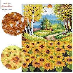 Pärlbroderi Sunflowers 25x19