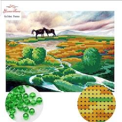 Pärlbroderi Two Horses 25x19