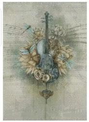 Diamanttavla Violin And Flowers 50x70