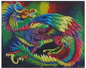 Diamanttavla Dragon Colors 40x50