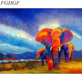 Paint By Numbers Red Elephants 40x50