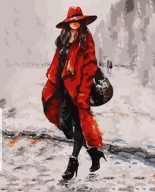 Paint By Numbers Lady In Red 40x50