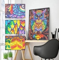 Diamanttavla Special Color Owl 30x40