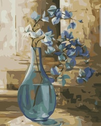 Paint By Numbers Blå Blommor I Vas 40x50