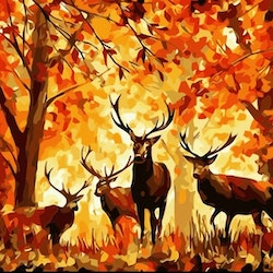 Paint By Numbers Deers In Autum Wood 40x50