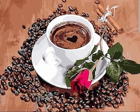 Paint By Numbers Coffee Rose 40x50