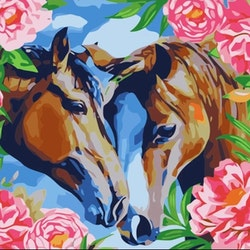 Paint By Numbers Horses Roses 40x50