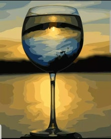 Paint By Numbers Wineglass View 40x50
