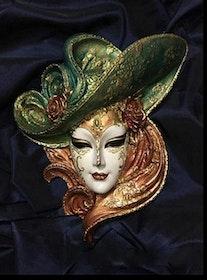 SNART I BUTIK - Diamanttavla Green Hat Mask 40x50