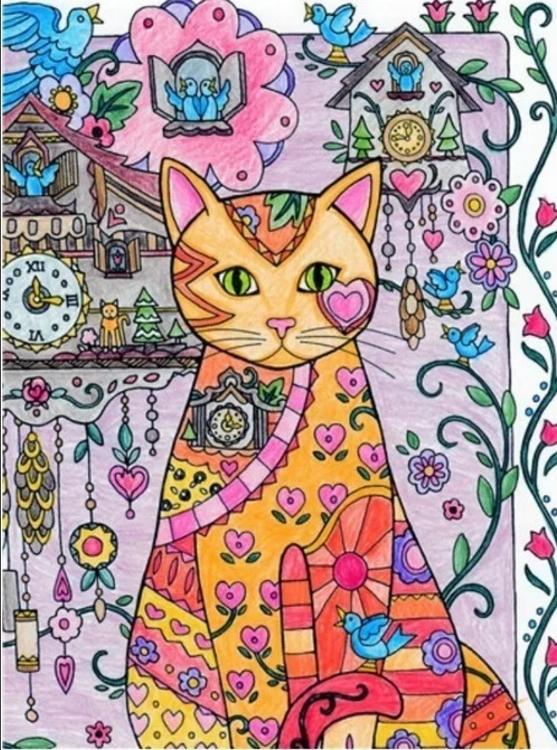 Diamanttavla Flower Cat And Clocks 40x50