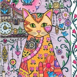 Diamanttavla Flower Cat And Clocks 40x50