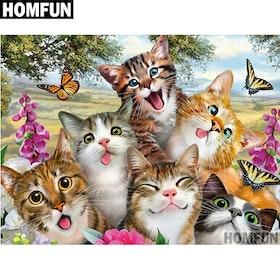 Diamanttavla (R) Crazy Cats 40x50