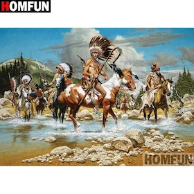 Diamanttavla Indians On Horses 50x70