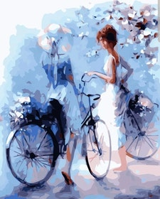 Paint By Numbers Women And Bicycles 40x50