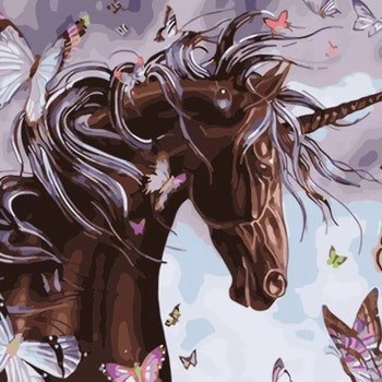 Paint By Numbers Black Unicorn And Butterflies 40x50