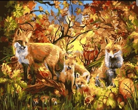 Paint By Numbers Foxfamily 40x50