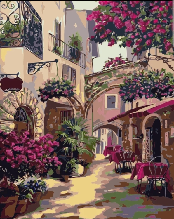 Paint By Numbers Medelhavs Café 40x50