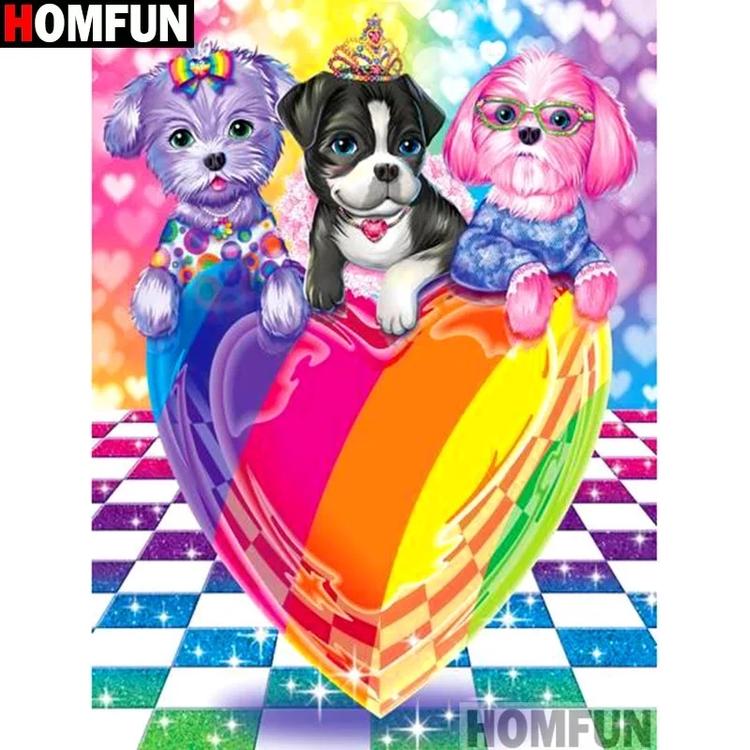 Diamanttavla (R) Puppy Color Love 40x50
