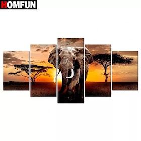 SNART I BUTIK - Diamanttavla 5 Delad Elephant Sunset