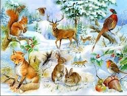 Diamanttavla Winter Forest Animals 50x70