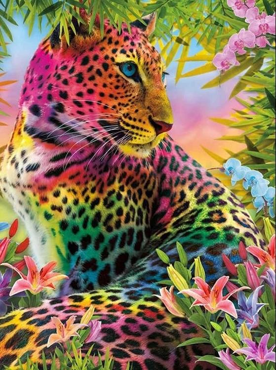 Diamanttavla (R) Color Leopard 40x50