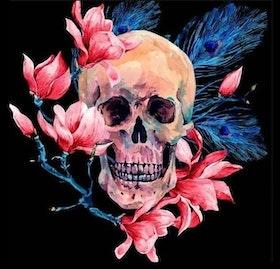 Diamanttavla Skull Magnolia 50x50