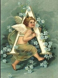 SNART I BUTIK  - Diamanttavla Angel Letter A 40x50